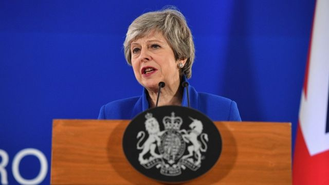 British Prime Minister Theresa May speaks at a news conference April 11, 2019 in Brussels, Belgium. After May presented her case for a delay, European Union leaders agreed tonight to extend the deadline for Britain's exit from the EU to October 31. (Photo by Leon Neal/Getty Images)