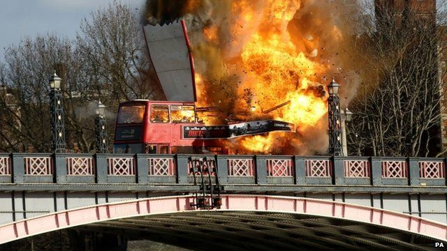 Bus blown up for film stunt