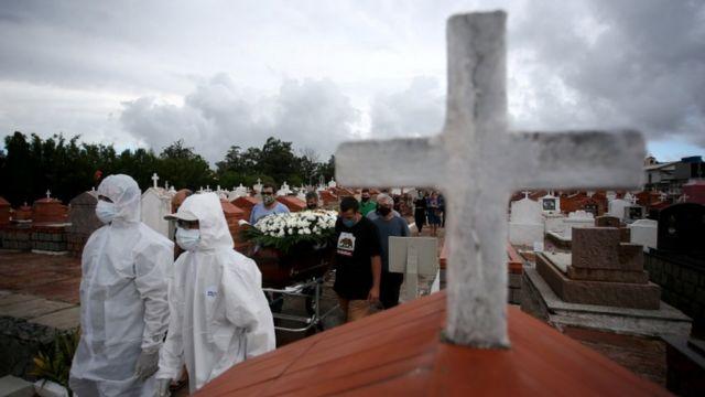 Cruz no cemitério, com dois profissionais inteiramente cobertos por jaleco branco e outras pessoas emfila atrás participando de funeral