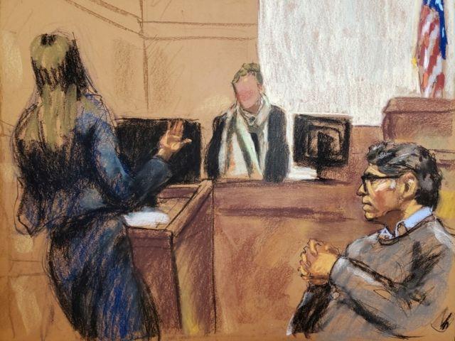 Un dibujo del juicio a Keith Raniere en el tribunal de Brooklyn, Nueva York