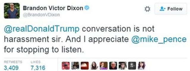 """A tweet from actor Brandon Dixon, saying: """"@realDonaldTrump conversation is not harassment sir. And I appreciate @mike_pence for stopping to listen."""""""