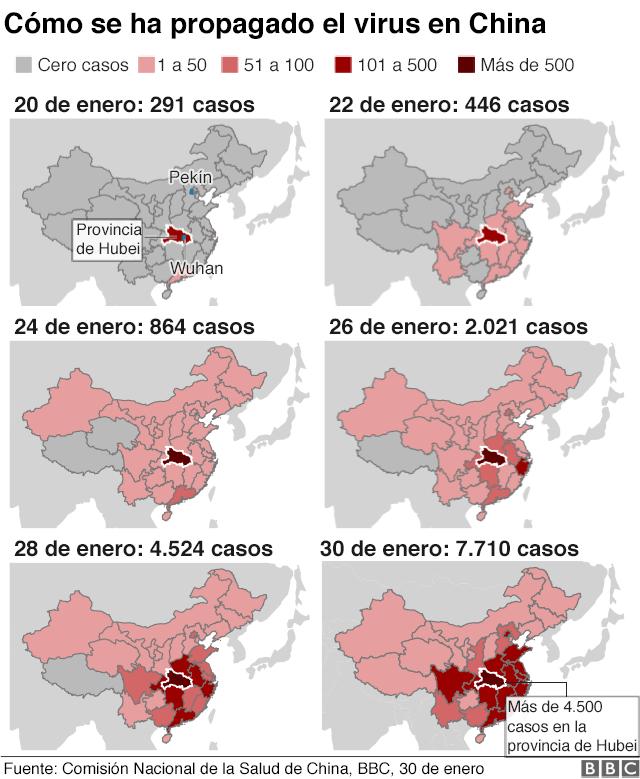 Mapa con la propagación del coronavirus en China