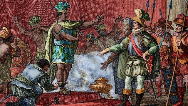 Aztek İmparatoru Montezuma'nın 1520'de İspanyol kaşif Hernan Cortes tarafından tutulanmasını gösteren bir gravür.
