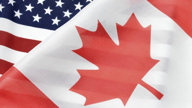 Canada and US flags