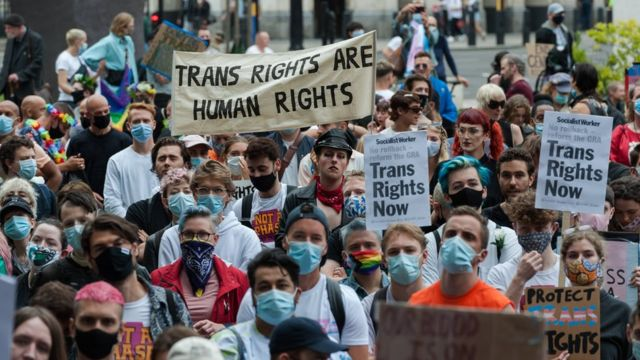 Transgender people and their supporters gather in Parliament Square to protest against potential changes to the Gender Recognition Act on 04 July, 2020 in London