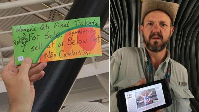 """O americano Douglas McLean com placa anunciando a venda de ingressos e mostrando a reportagem que o """"salvou"""""""