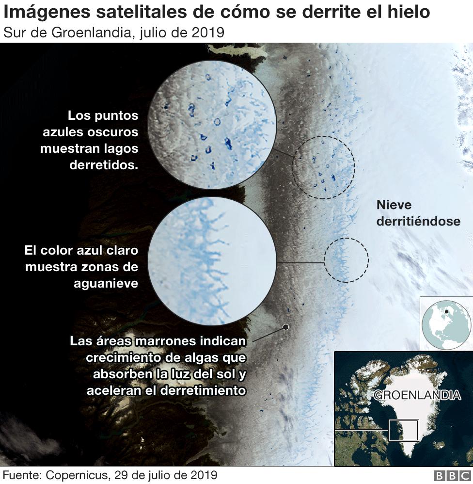 Imágenes satelitales de cómo se derrite el hielo en Groenlandia.