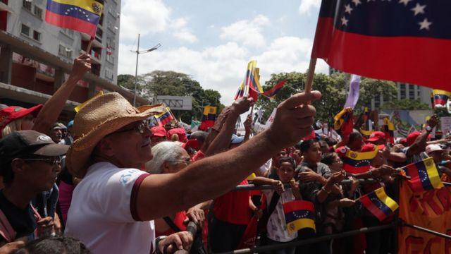 Manifestação pró-Maduro em Caracas