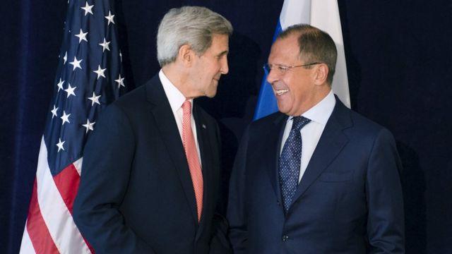 US Secretary of State John Kerry meeting Russian Foreign Secretary Sergei Lavrov