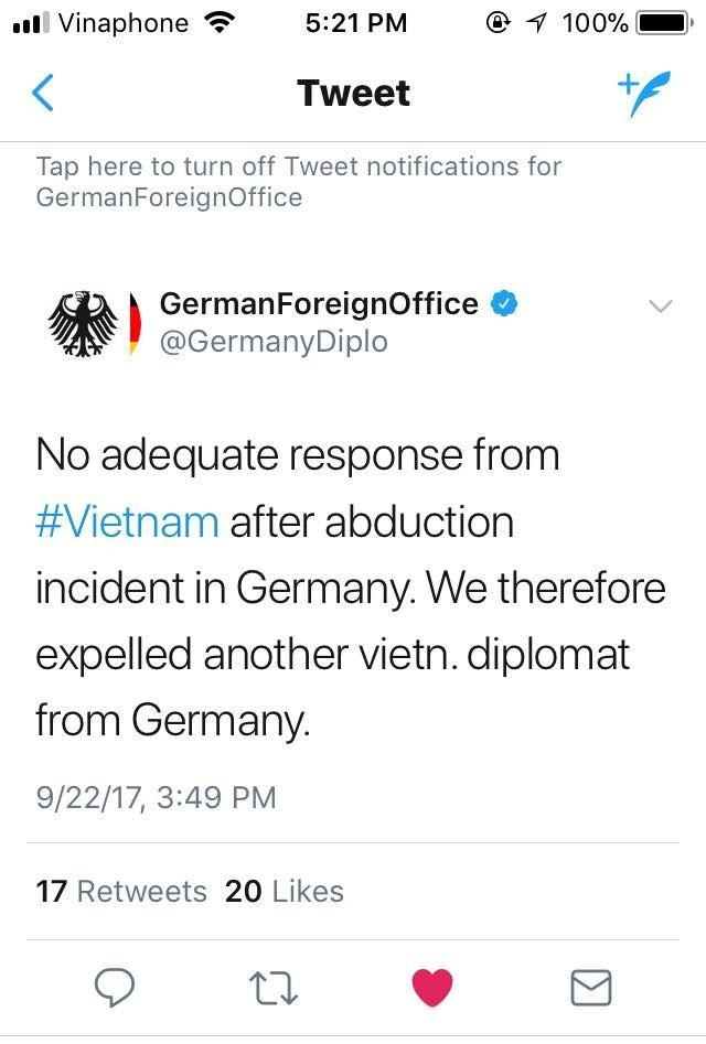 Twitter bằng tiếng Anh của Bộ Ngoại giao Đức