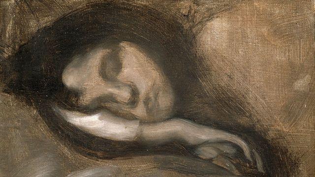 'Cabeça de uma mulher adormecida', séculos 19 e 20. Artista: Eugene Carriere