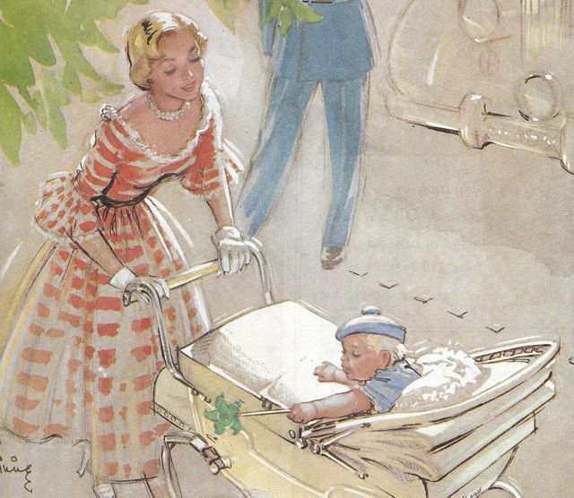 An advertisement showing a mom in a dress taking her baby for a walk