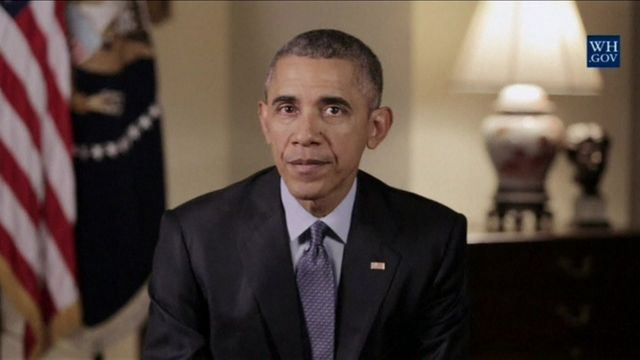 President Obama during his weekly address on Saturday