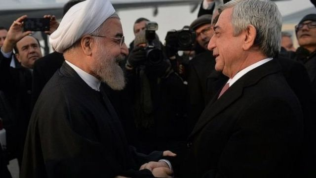 Ruhani prezident seçiləndən sonra ilk dəfədir Ermənistana səfər edib