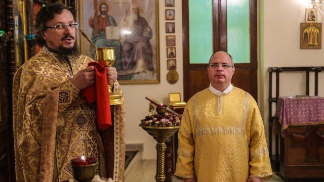 Сергей Гаврилов выполнял роль пономаря в православном храме в Дамаске, Сирия