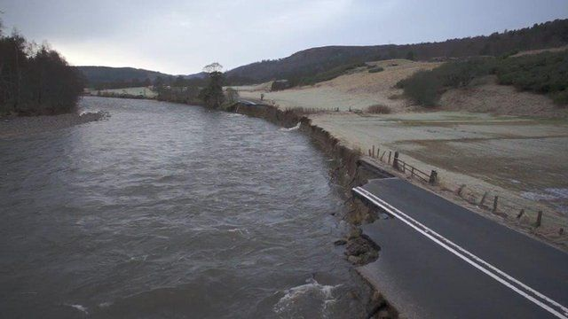 Damaged A93 west of Ballater