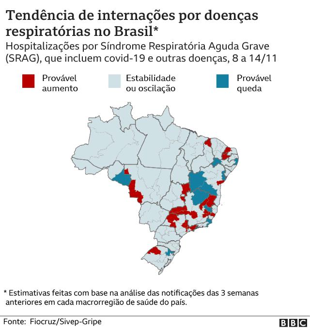 mapa dos casos de sindrome respiratoria aguda grave no brasil