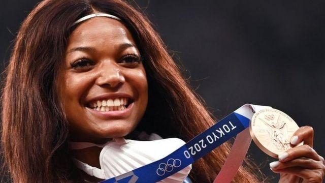 US sprinter Gabby Thomas celebrates winning a bronze medal at the Tokyo Olympics