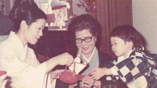 William Saito with grandma and mum