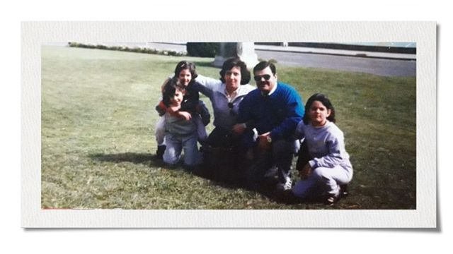 Analía Kalinec with her family on a family trip in the 1980s
