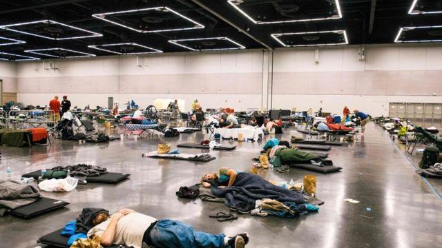 Portland'daki Oregon Kongre Merkezi, klimalı bir soğuk hava merkezine dönüştürüldü