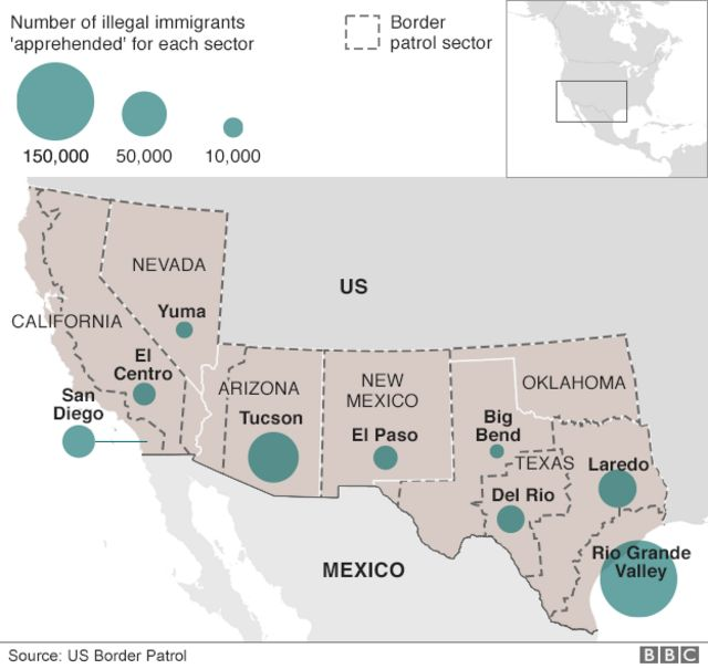Map showing where most immigrants are detained entering the US from Mexico - highest being Rio Grande Valley and Tucson, Arizona - May 2016