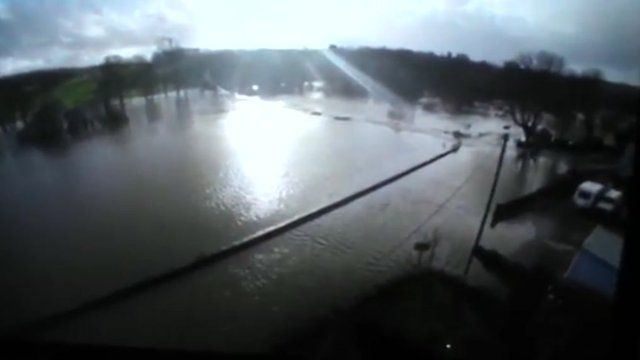 Maria Eales, from Llechryd, captured the flood water outside her home on video