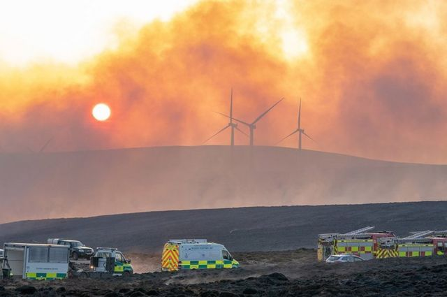 Major wildfire threatening Moray wind farm battled for second day