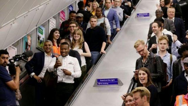 Sadiq Khan on an escalator in Brixton Underground Station