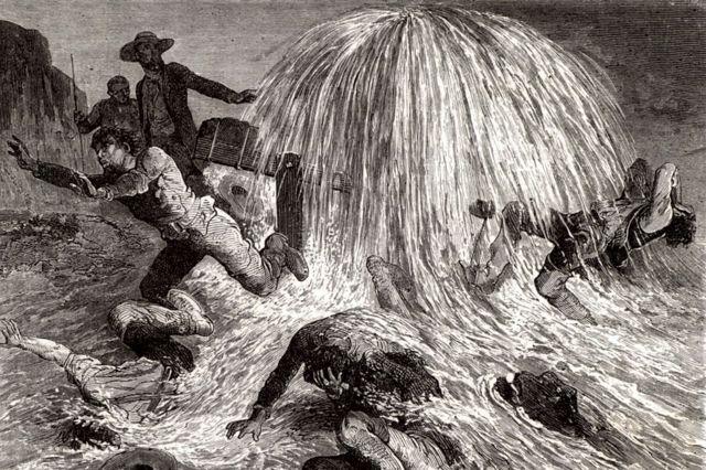Ilustración del momento en el que Edwin Drake logró hallar el petróleo.