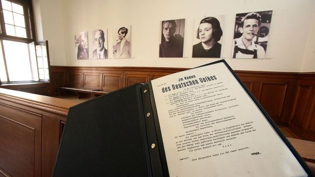 A copy of the sentence against the members of the White Rose in front of their photos