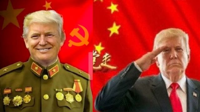 Composite of Donald Trump in Chinese military uniform and Western suit and tie
