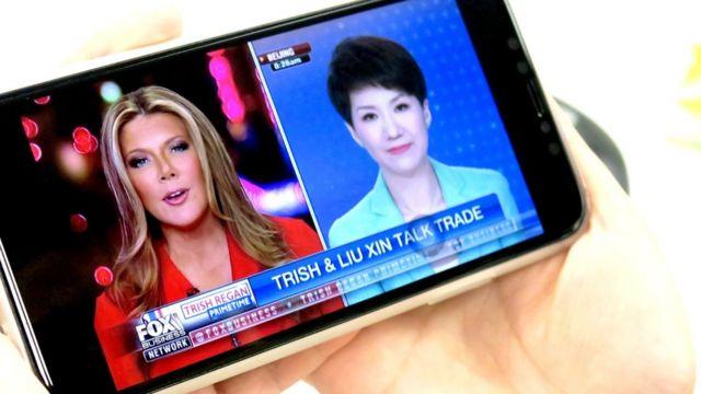 中國國際電視台女主播劉欣與美國福克斯商業電視台女主持翠西•里根