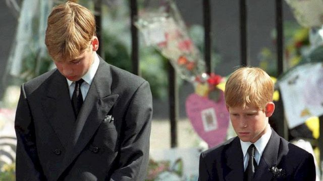 Prince William and Prince Harry at their mother's funeral