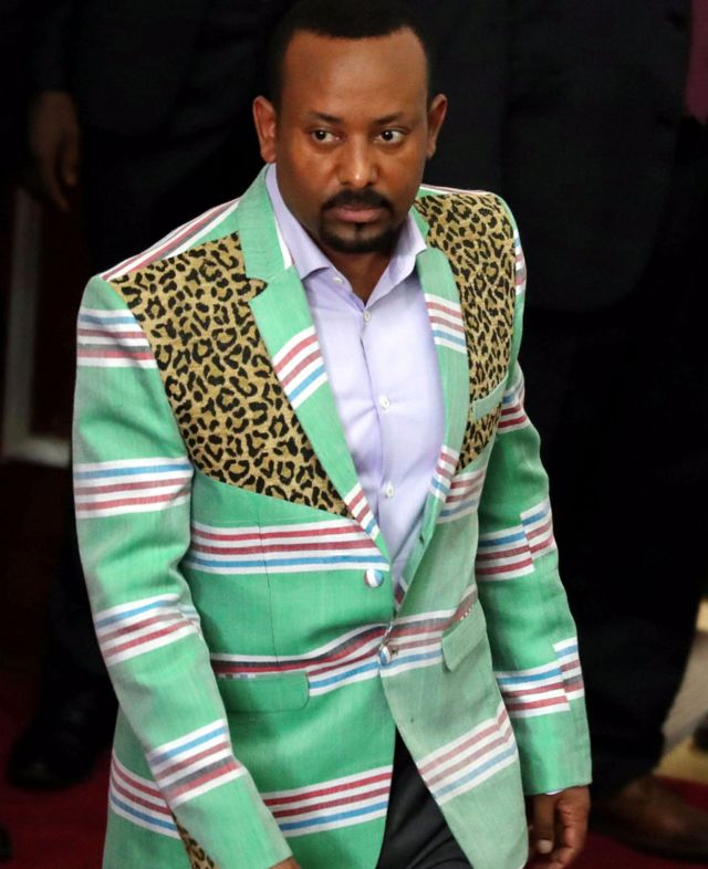 Prime Minister Abiy Ahmed in a stripped suit at parliament in Addis Ababa, Ethiopia - Thursday 25 October 2018