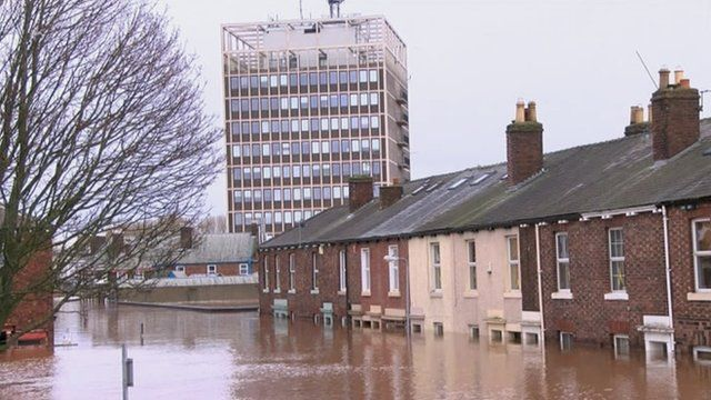 Flooded street in Cumbria