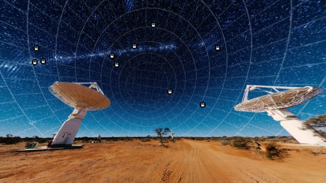 Algunas de las antenas de telescopios en el desierto de Australia Occidental