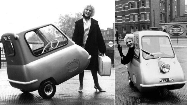 Построенный в 1962 году прототип Peel P50 имел одно колесо впереди и два сзади. Для серийного производства эту неустойчивую конструкцию переделали на обратную - два впереди и одно сзади