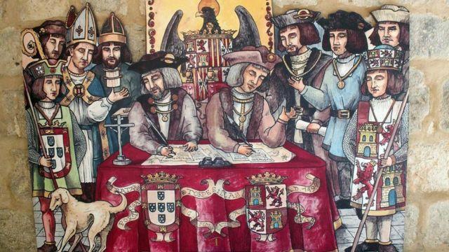 Un dibujo de la firma del tratado de Tordesillas