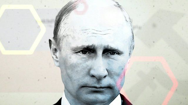 stylised portrait of Vladimir Putin