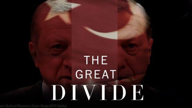 """Gazete ortadan ikiye ayırdığı Erdoğan'ın fotoğrafının üstünde """"Büyük bölünme"""" başlığını kullanmış."""