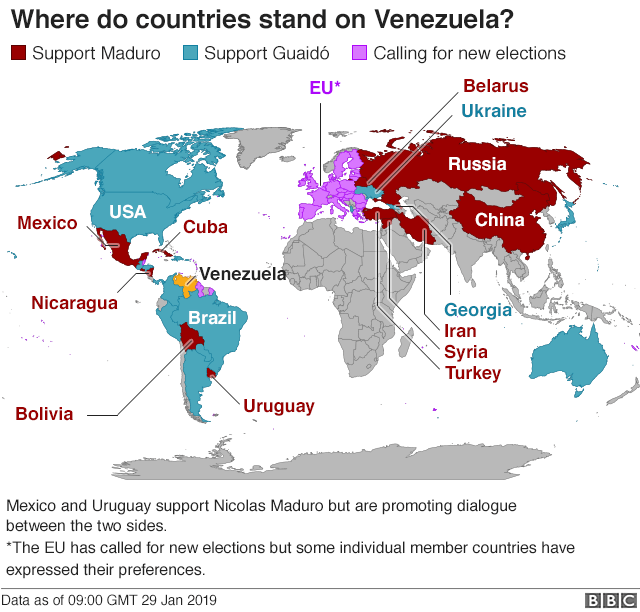 Map of countries supporting Mr Maduro and Mr Guaidó