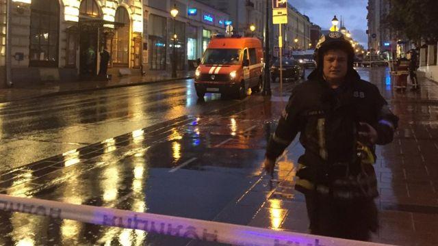 Полицейская операция около отделения Ситибанка на Большой Никитской улице