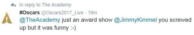 ऑस्कर के आधिकारिक ट्विटर हैंडल ने ट्वीट किया