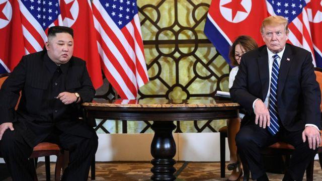 North Korean leader Kim Jong-un and US President Donald Trump meet in Hanoi, Vietnam. Photo: February 2019