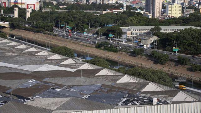 Vista aérea do Hospital de Campanha do Anhembi