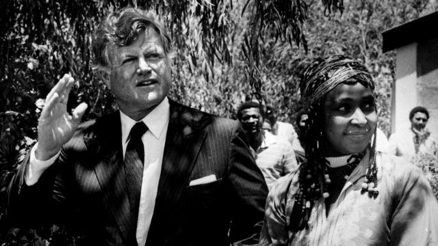 Senator Edward Kennedy visits banned Winnie Mandela in Brandfort, South Africa, January 9, 1985.
