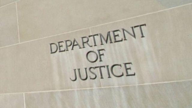 La entrada del edificio del Departamento de Justicia de Estados Unidos