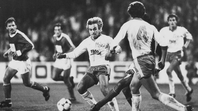 Detalj sa meča Radnički - Sent Galen (Švajcarska) odigrane u jesen 1983. u Kupu UEFA