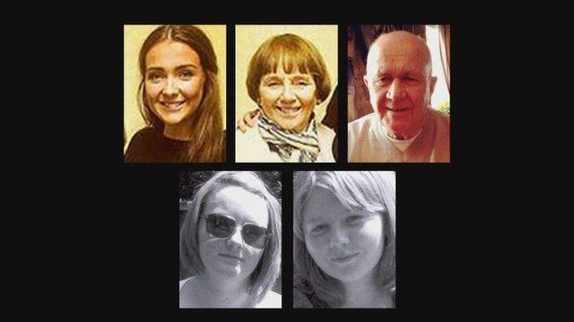Erin McQuade, Lorraine and Jack Sweeney; Mhairi Convy and Laura Stewart